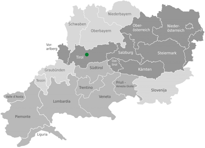 Lage des Bergsteigerdorfs Region Sellraintal
